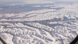In flight over the mountains of Afghanistan
