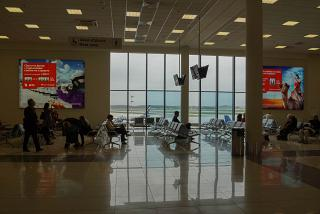 Place to wait for departure in the clean zone of terminal E of Sheremetyevo airport