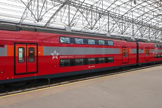 Aeroexpress double-decker train running between Sheremetyevo Airport and Moscow
