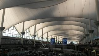 In the passenger terminal at Denver international airport