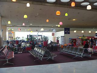 The waiting room in clean area of the terminal 2D of Paris airport Charles de Gaulle