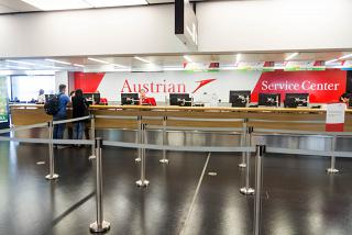 Service center Austrian airlines in a clean area of terminal 3 of the airport of Vienna