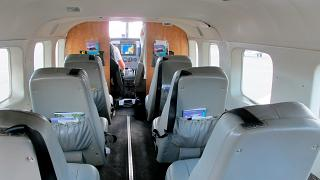 The cabin of the Cessna Caravan airlines Mokulele Airlines