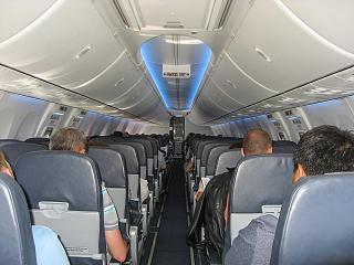 "The passenger cabin of a Boeing 737-800 of airline ""Victory"""