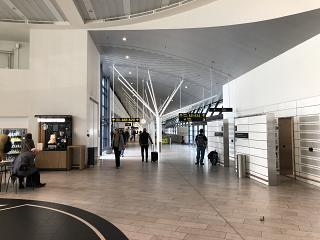 Gallery to gates in area F in terminal 2 of Copenhagen airport Kastrup
