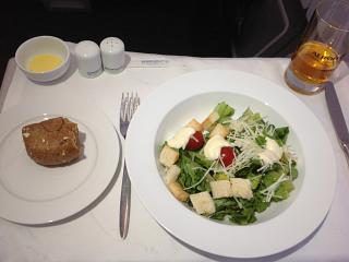 The food in business class on a flight of Aeroflot from Moscow to Khabarovsk