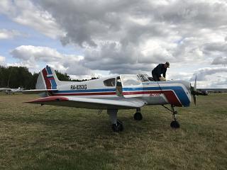 Самолет Як-18Т на аэродроме Дракино