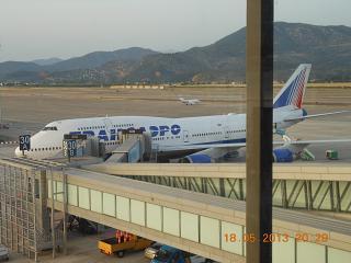 The platform Dalaman airport. B747-400 Transaero EI-XLJ