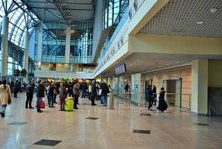 Hall of the international arrivals at the airport of Moscow-Domodedovo