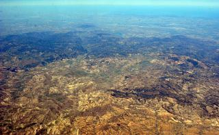 In the sky over Algeria. The surroundings of the village Larim. In the distance the Mediterranean sea.