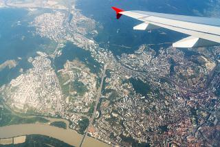The city of Bratislava and the Danube river