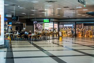 Cafe in the clean area of the Palermo airport