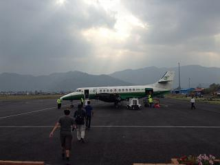 Boarding Jetstream 41 airlines Yeti Airlines in Pokhara airport