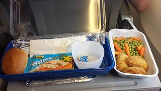 In-flight meals on the flight Rimini-Moscow airlines Nordwind