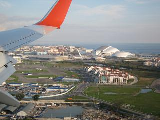 The view of the Olympic Park before landing at the airport of Sochi