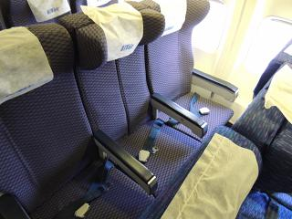 The passenger seats on the Boeing-737-400 UTair airline