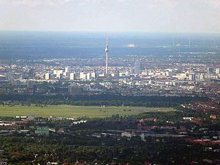 In flight over Berlin