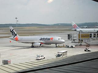 Airbus A320 Jetstar at the airport in Kuala Lumpur
