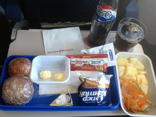 "Flight meals on the flight Blagoveshchensk-Moscow airlines ""Russia"""