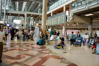 The arrival hall at the airport Bangkok Suvarnabhumi