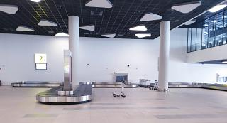 Baggage claim area in the new terminal of Khabarovsk airport