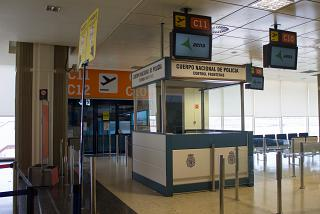 Front of border control in the airport of Valencia