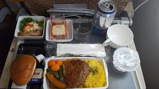 Food FUK-SIN A330-300 Singapore Airlines, Humburger Steak with Demi Glace