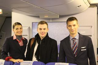 The photo with the flight attendants of the airline Transaero