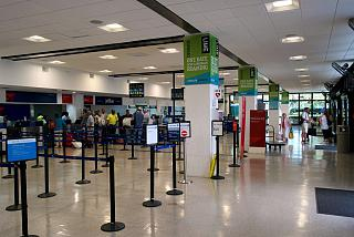 The reception area at the airport in George town on Cayman Islands