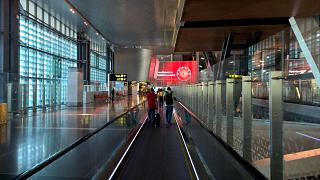The transition in the arrivals area of the airport