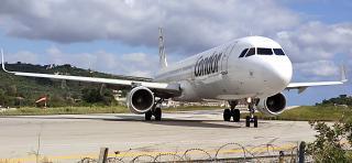 Airbus A321 of Condor airlines at Skiathos airport