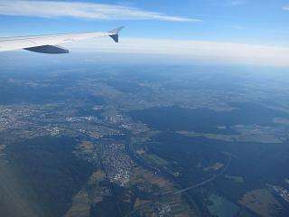 In flight over Germany - a flight from Frankfurt to Moscow