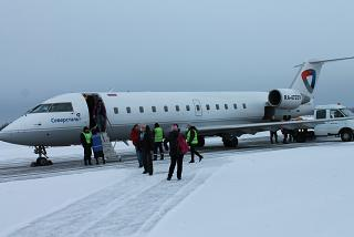 "The plane Bombardier CRJ-200 aircraft of the airline ""Severstal"" at the airport Apatity"