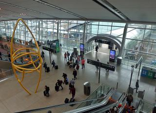The view from the escalator on the second floor of terminal 2 of Dublin airport