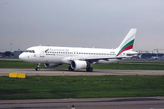The airliner Airbus A320 LZ-FBC of Bulgaria Air airline in Moscow Sheremetyevo airport