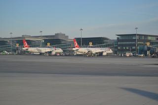 Aircraft of Turkish airlines at the airport Istanbul Ataturk