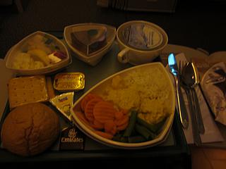 Food on the flight from Moscow to Dubai Emirates airline