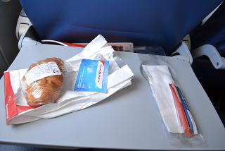 "Food (croissant with chicken) on the flight Samara-S/Petersburg airline ""Russia"""