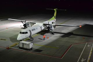The Bombardier Dash 8 Q400 airBaltic at the airport of Lviv