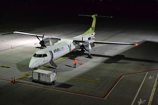 Самолет Bombardier Dash 8 Q400 авиакомпании airBaltic в аэропорту Львова