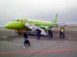 Embraer 170 S7 Airlines in the airport of Omsk