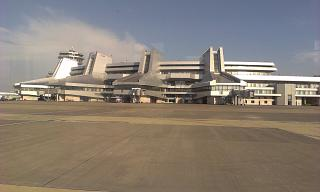 The terminal of the national airport Minsk from the side of the apron