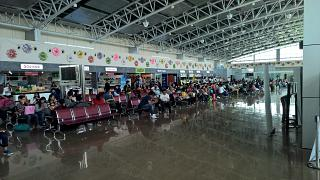 The waiting room on the 2nd floor in a clean area of Clark airport