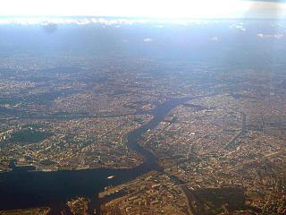 In flight over St. Petersburg