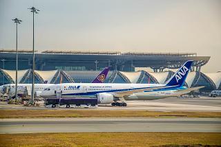 Boeing-787-8 of airline ANA airport Bangkok Suvarnabhumi