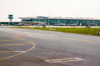View from the apron to the passenger terminal of Porto Francisco Carneiro Airport