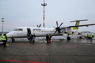 Bombardier Dash 8Q-400 airline airBaltic at Moscow's Vnukovo airport