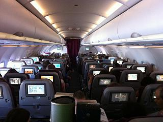 The cabin of the Airbus A320 Qatar Airways
