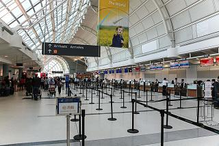 The reception area for the flights of foreign carriers in terminal 3 of Toronto Pearson international airport