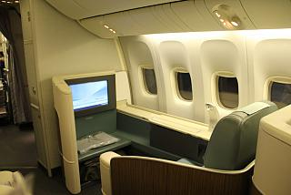 The First class cabin on the Boeing-777-200 airlines Korean Air